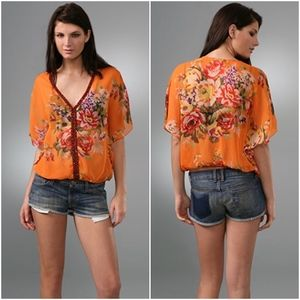 FREE PEOPLE | Sheer Genius Orange Floral Top